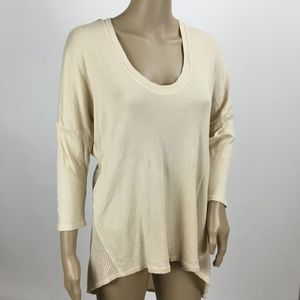 XCVI Cotton Cream Ribbed Mesh Back Tunic Medium